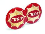 BSA Gold Star Fuel Tank Badges - Red/Gold (pair)
